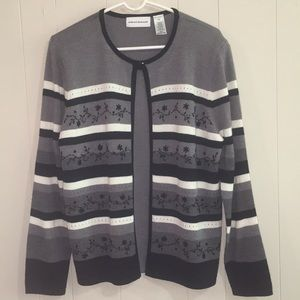 Alfred Dunner Embroidered Beaded Striped Sweater